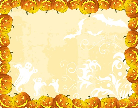 Halloween background with bats, ghost & pumpkin, vector illustration