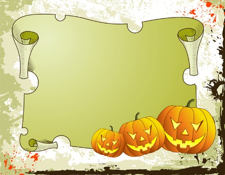 Halloween background with pumpkin and parchment, vector illustration Illustration