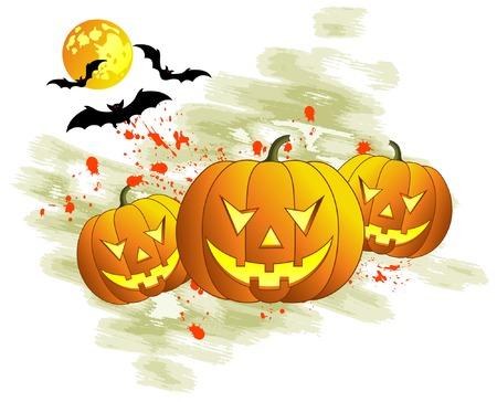 Halloween background with bats & pumpkin, vector illustration Vector