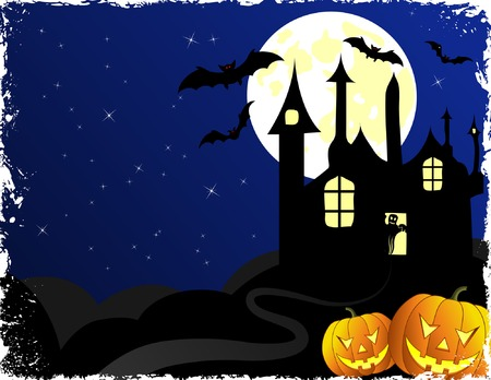 Halloween background with bats, ghost & pumpkin, vector illustration