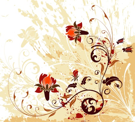 Grunge paint flower background with splashes, element for design, vector illustration