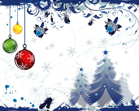 Grunge paint christmas background with tree & baubles, element for design, vector illustration Vector