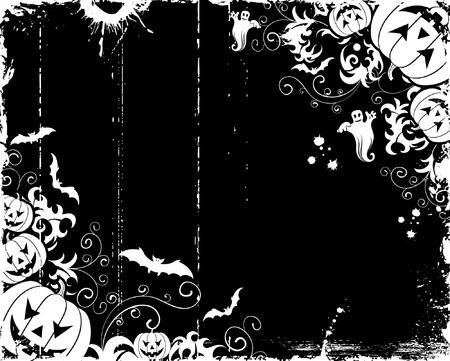 Grunge halloween frame with bats, ghost & pumpkin, vector illustration Vector