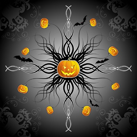 Abstract halloween background with bats, ghost & pumpkin, vector illustration Vector