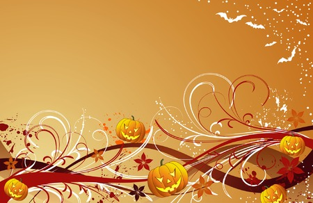 Abstract halloween background with bats & pumpkin, vector illustration Vector