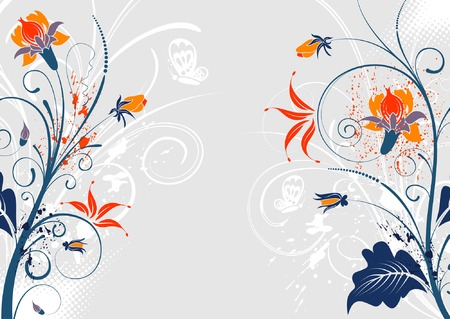 Grunge paint floral background with butterfly, element for design, vector illustration Vector