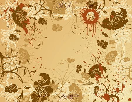 Abstract grunge paint flower background with butterfly, element for design, vector illustration