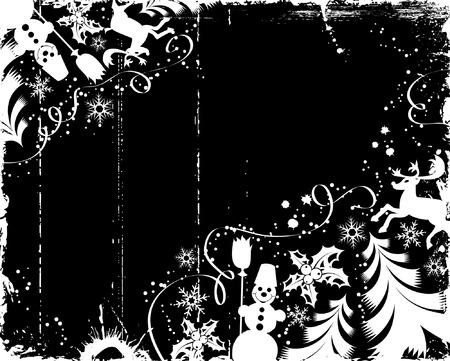Grunge christmas frame with tree, snowman, mistletoe, deer, element for design, vector illustration Vector