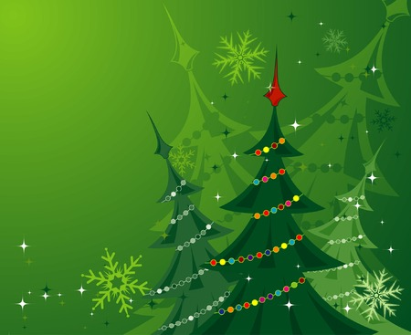 Christmas background with trees, element for design, vector illustration