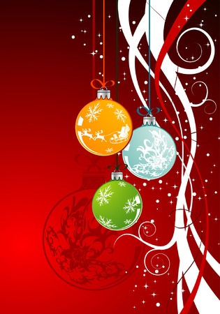 Christmas background with baubles, element for design, vector illustration Illustration