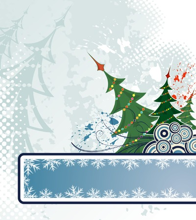 Christmas grunge background with trees, element for design, vector illustration Vector
