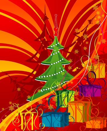 Abstract Christmas background with tree, element for design, vector illustration