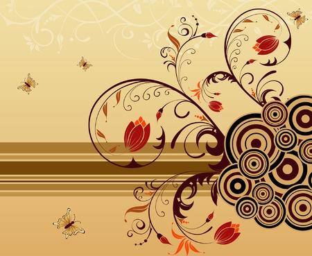 Fiore sfondo con farfalla, elemento per la progettazione, illustrazione vettoriale