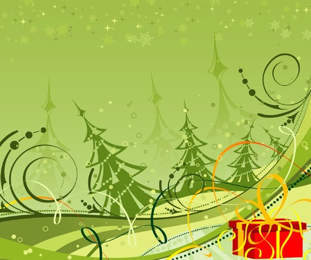 Abstract christmas background with christmas tree and gift, element for design, vector illustration