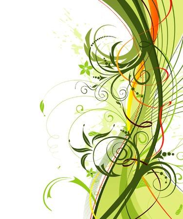 Grunge paint flower background with ribbon, element for design, vector illustration Illustration