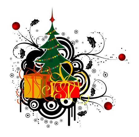 Astratta natale sfondo con albero di Natale e di dono, elemento per la progettazione, illustrazione vettoriale  Vettoriali
