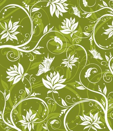 Abstract flower pattern con farfalla, elemento per la progettazione, illustrazione vettoriale