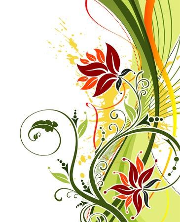 Grunge dipingere fiori sfondo con le onde, elemento per la progettazione, illustrazione vettoriale