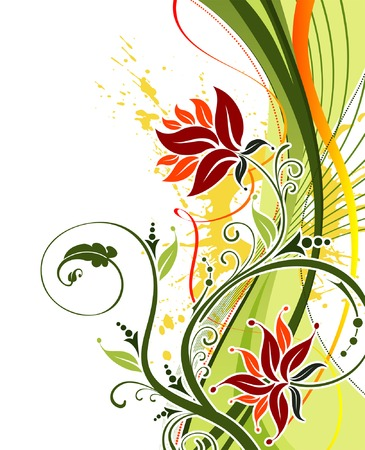 Grunge paint flower background with waves, element for design, vector illustration