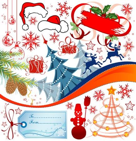 Big set elements for Christmas design, vector illustration Stock Vector - 2083314