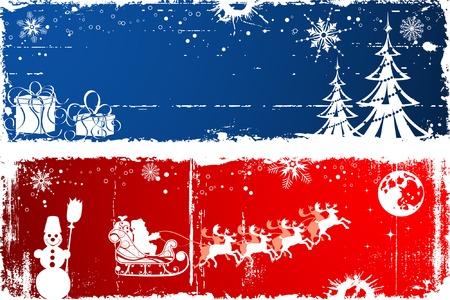 Abstract christmas background with Santa & deers, element for design, vector illustration Vector