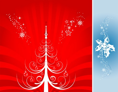Abstract christmas background with christmas tree & mistletoe, element for design, vector illustration Stock Vector - 2159788