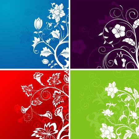 Set flower background, element for design, vector illustration Illustration