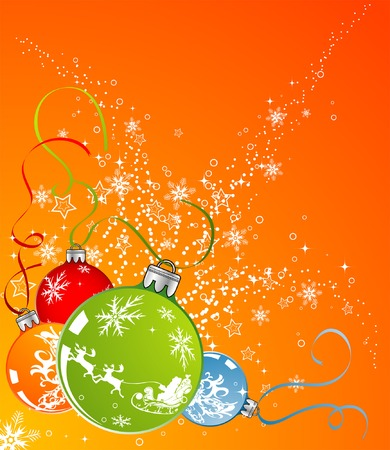 Abstract christmas background with baubles, element for design, vector illustration Vector