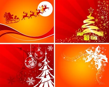Set christmas background with Santa, mistletoe Christmas tree, element for design, vector illustration Illustration