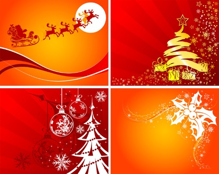 christmas scroll: Set christmas background with Santa, mistletoe Christmas tree, element for design, vector illustration Illustration