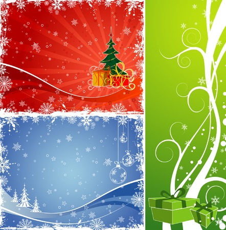 Three christmas background with gift, baubles, Christmas tree, element for design, vector illustration Vector