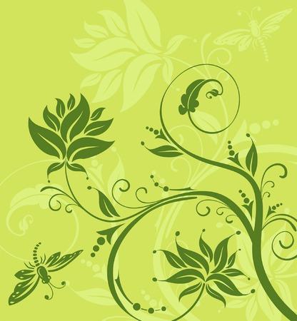 Abstract flower background with dragonfly, element for design, vector illustration Ilustração