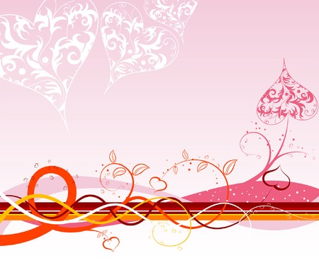 Valentines Day background with Hearts, florals and wave, element for design, vector illustration