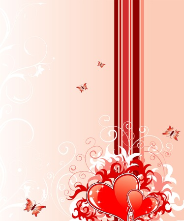 Valentines Day background with Hearts, florals and butterfly, element for design, vector illustration Illustration