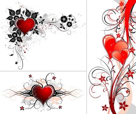 San Valentino con sfondo Cuori, fiori e del moto ondoso, elemento per la progettazione, illustrazione vettoriale Vettoriali