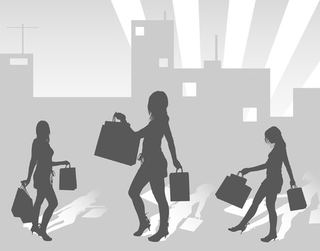 Silhouettes shopping girls on urban background, vector illustration Vector