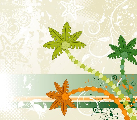 Abstract summer grunge background with palm tree, vector illustration Ilustração