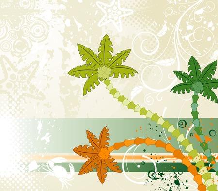 Astratta estate grunge di fondo con palme, illustrazione vettoriale