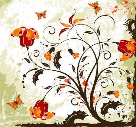 butterfly background: Grunge paint flower background with butterfly, element for design, vector illustration