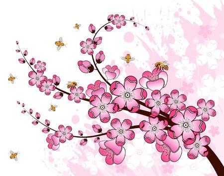 flor de sakura: Grunge pintura de flores con fondo de abejas, elemento para el dise�o, ilustraci�n vectorial