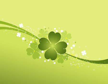 four leafed clover: Fondo del St. Patrick con el tr�bol, elemento para el dise�o, ilustraci�n del vector Vectores