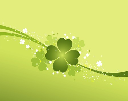 leafed: St. Patrick background with clover, element for design, vector illustration