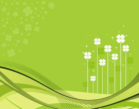 leafed: St. Patrick Day background with flower and wave pattern, element for design, vector illustration