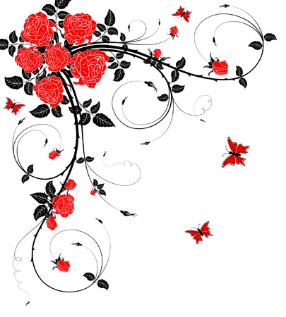 Abstract flower background with butterfly, element for design, vector illustration Illustration
