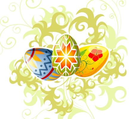 Easter eggs with ornament on floral background, element for design, vector illustration Vector