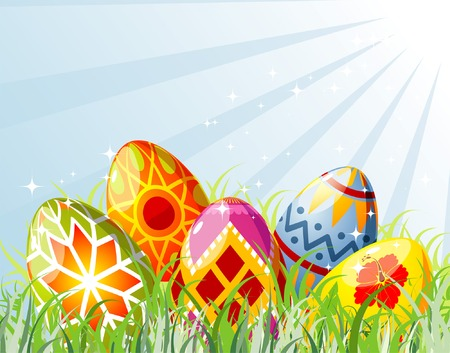 paschal: Easter eggs with ornament in grass, element for design, vector illustration