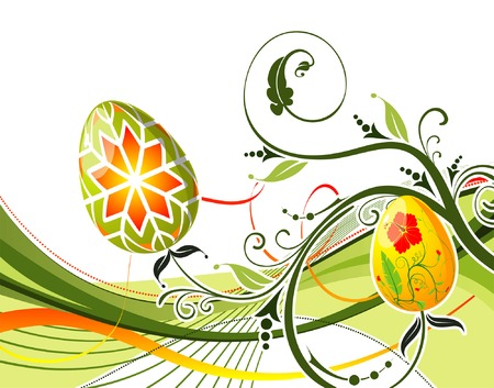 paschal: Easter eggs with ornament on flower background with wave, element for design, vector illustration (no transparency)