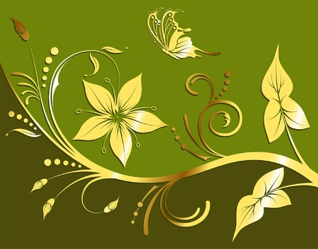 Gold flower background with wave pattern and butterfly, element for design, vector illustration Vector