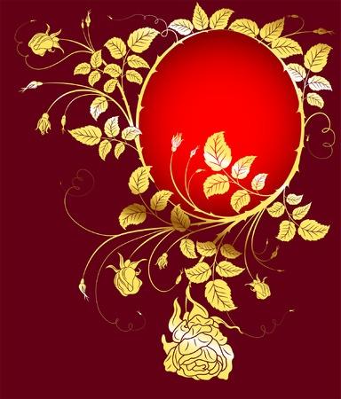 Gold flower background with frame, element for design, vector illustration Vector