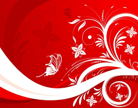 Abstract flower background with butterfly, element for design, vector illustration Vector
